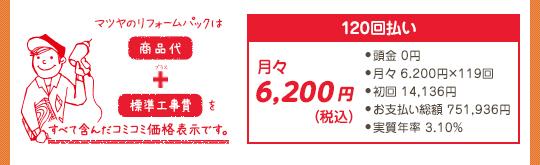 マツヤのリフォームパックは、商品代+標準工事費をすべて含んだコミコミ価格表示です。120回払いの場合:月々6,200円(税込)(頭金0円、月々6,200円×119回、初回14,136円、お支払い総額751,936円、実質年率3,10%)