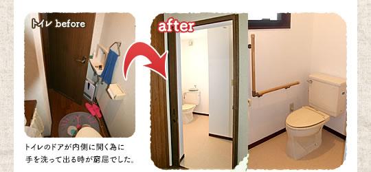 トイレのリフォーム前:トイレのドアが内側に開く為に手を洗って出る時が窮屈でした。