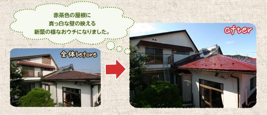 赤茶色の屋根に真っ白な壁の映える新築の様なおウチになりました。