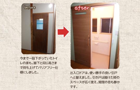 今まで一段下がっていたトイレの床も、廊下と同じ高さまで持ち上げてバリアフリー仕様にしました。出口ドアは、使い勝手の良い引戸へと替えました。引き戸は開けた時のスペースが広く使え、開閉の音も静かです。