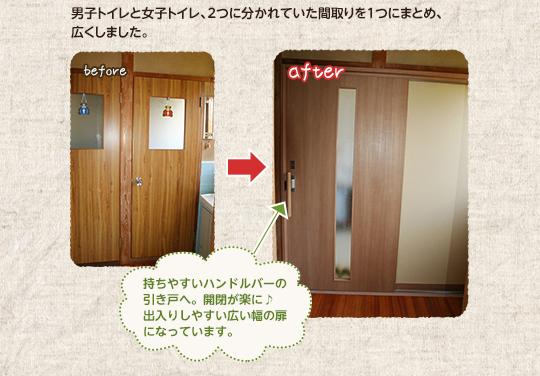 男子トイレと女子トイレ、2つに分かれていた間取りを1つにまとめ、広くしました。持ちやすいハンドルバーの引き戸へ。開閉が楽に♪出入りしやすい広い幅の扉になっています。