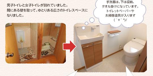 男子トイレと女子トイレが別れていました。間にある壁を取って、ゆとりある広さのトイレスペースになりました。手洗器は、下は収納、タオル掛けになっています。トイレットペーパーやお掃除道具が入ります。