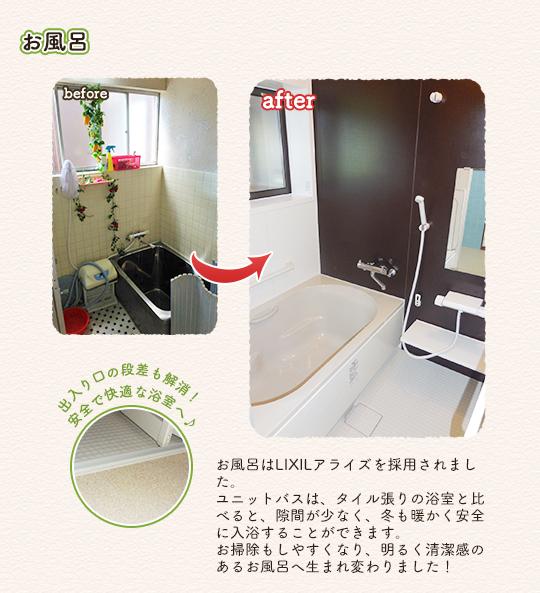 お風呂:お風呂はLIXILアライズを採用されました。ユニットバスは、タイル張りの浴室と比べると、隙間が少なく、冬も暖かく安全に入浴することができます。お掃除もしやすくなり、明るく清潔感のあるお部屋へ生まれ変わりました!