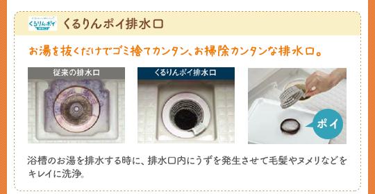 くるりんポイ排水口:お湯を抜くだけでゴミ捨てカンタン、お掃除カンタンな排水口。浴槽のお湯を排水する時に、排水口にうずを発生させて毛髪やヌメリなどをキレイに洗浄。