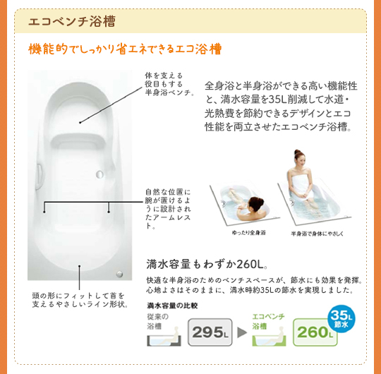 エコベンチ浴槽:機能的でしっかり省エネできるエコ浴槽。全身浴と半身浴ができる高い機能性と、満水容量を35L削減して水道・光熱費を節約できるデザインとエコ性能を両立させたエコベンチ浴槽。満水容量もわずか260L。快適な半身浴のためにベンチスペースが、節水にも効果を発揮。心地よさはそのままに、満水時約35Lの節水を実現しました。満水容量の比較 従来の浴槽295L→エコベンチ浴槽360L(35L節水)