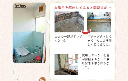 お風呂を解体してみると問題点が...土台の一部がボロボロ(>_<)→グチャグチャになっていた土台を新しく変えました。使用していない配管が何個もあり、不要な配管を取り除きました。